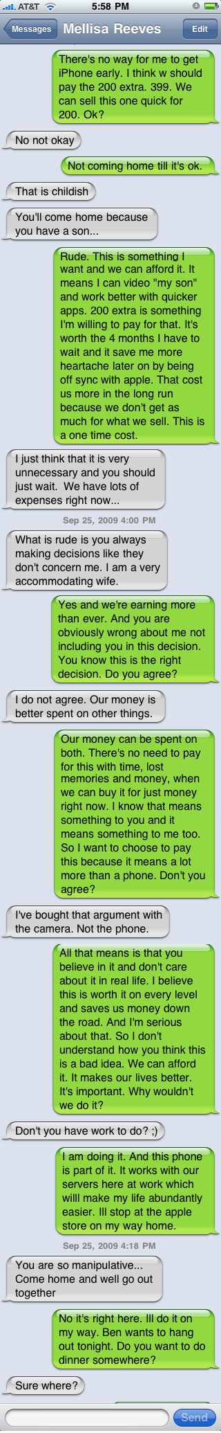 conversation with wife about iPhone